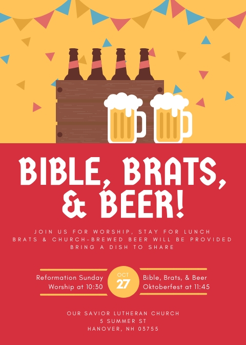 IMAGE: REFORMATION SUNDAY, OCTOBER 27 2019 - BIBLE BRATS AND BEER