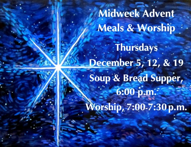 med OSLC Advent Thursdays 2019 Dec 5, 12, and 19 [Supper at 6, Worship 7-730]